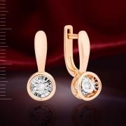 Танцующий Бриллиант - Серьги Золотые