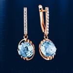 Серьги - подвески. Русское золото & Топаз