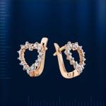Серьги Сердечки. Фианиты & Русское золото