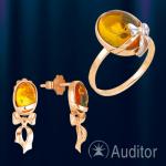 Гарнитур из русского золота 585° с янтарем