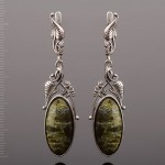 Серебряные серьги - подвески. Змеевик