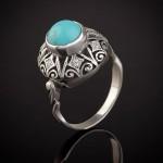 Кольцо с бирюзой серебряное