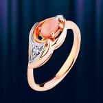 Золотое кольцо с корллом. Русское золото