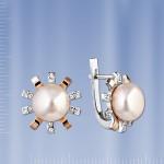 Серьги Феерверк с жемчугом. Золото & Серебро
