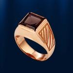 Золотое кольцо - печатка. Раухтопаз