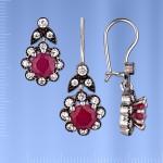 Гарнитур серебряный. Фианиты & Рубины