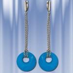 Серебряные серьги - подвески с бирюзой