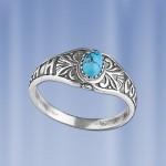 Кольцо-оберег серебряное с бирюзой