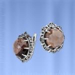 Серебряные серьги Кристалл. Раухтопаз