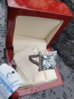 Серебряное кольцо с топазом Космос