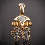 Подвеска: православный крест Распятие. Хризма, образок Валаамская икона Божией Матери. Ангел Хранитель