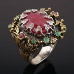Кольцо серебряное. Рубин & Изумруды