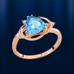 Кольцо с топазом & фианитами. Русское золото