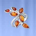 Кольцо с янтарём серебряное
