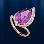 Золотое кольцо. Александрит & Фианит