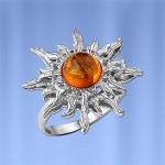 Серебряное кольцо Солнышко с янтарём