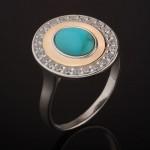 Кольцо с бирюзой. Серебро & Золото