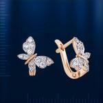 Серьги Бабочки. Фианиты & Русское золото