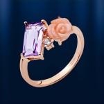 Кольцо золотое с корaллом, аметистом