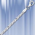 Цепь, браслет из серебра, кордовое плетение (форцатино)