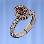 Кольцо серебряное. Гранат