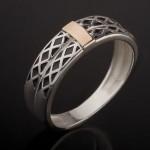 Кольцо серебряное с золотом и эмалью