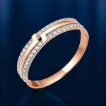 Кльцо с фианитами. Русское золото
