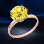 Кольцо золотое. Цитрин