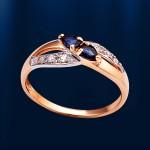 Кольцо с сапфирами и бриллиантами. Русское золото