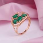 Кольцо с зеленым агатом. Серебро позолоченное