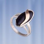 Кольцо серебряное Кипарис с авантюрином