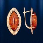 Серьги с янтарём. Русское золотое