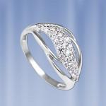 Кольцо с фианитами. Русское серебро