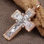 Нательный крестик золотой. Фианиты