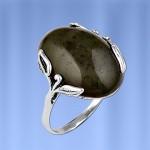 Кольцо серебряное Нефрит