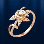 Кольцо с жемчугом. Красное & желтое золото