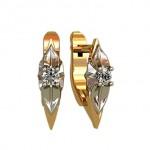 Серьги c бриллиантами, русское золото 585 пробы