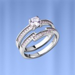 Двойное серебряное кольцо. Дочка-Мама. Фианиты