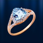 Золотое кольцо. Топазы & фианиты
