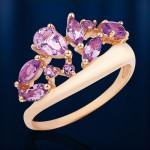Кольцо золотое с аметистами