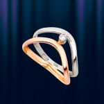 "Кольцо из Золота 585 ""Зебра"""