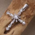 Крестик серебряный с фианитами