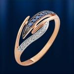 Кольцо золотое. Сапфир & Бриллианты