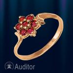"""Кольцо из золота 585 с гранатом """"Цветок"""""""