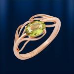 Кольцо золотое c хризолитом