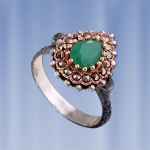 Серебряное кольцо. Изумруд & марказит