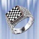 Мужское кольцо-печатка с ониксом, перламутром