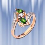 Золотое кольцо с хромдиопсидом.