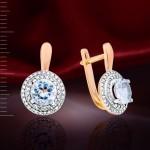 Топаз Swarovski® и Бриллианты. Золотые серьги