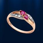 Кольцо золотое. Рубины & Бриллианты